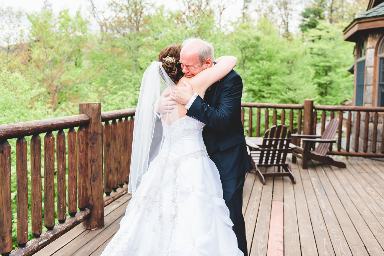 father daughter first look on wedding day Vermont wedding photographer